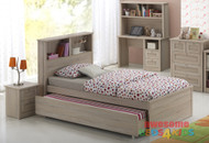 Broadbeach Trundle Bed is a very modern and practical bedroom solution for boys or girls. Bed includes bookcase bedhead with Trundle. Awesome Value! The picture doesn't do the finish justice. Modern laminated washed natural oak colour. Available in Single and King Single.