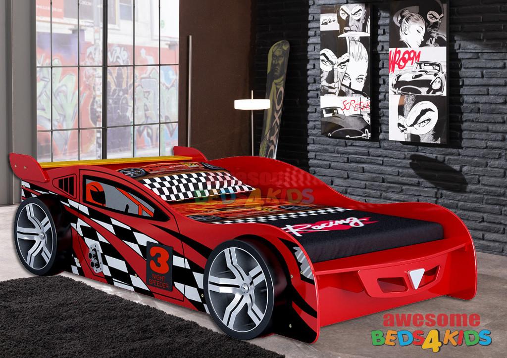 King Single No 3 Red Night Speeder Car Bed King Single