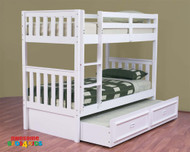 The Jester Bunk Bed features an open slated head and foot board to give a sense of space. The bunk is easy to assemble and can be set up as two single beds if needed.