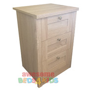 Broadbeach Three Drawer Bedside Table