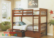 Brighton Single Bunk Bed White or Antique Oak