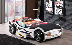 The Turbo with Drawer car bed features an exciting car design with racing stripe detail.