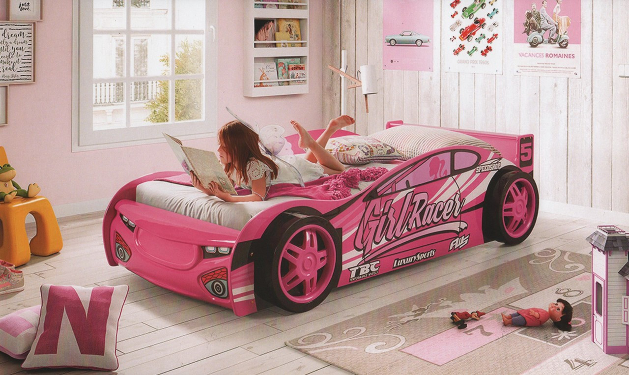 Girl Racer Car Bed Pink Car Bed Single Girls Car Bed