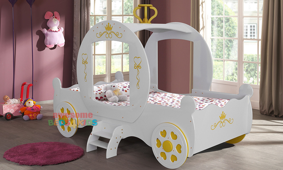 Toddler Bed For Girl Princess: White Royal Princess Carriage Car Bed