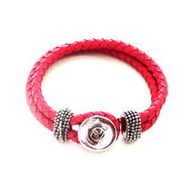 PINK SINGLE SNAP BRAIDED LEATHER BRACELET - LARGE