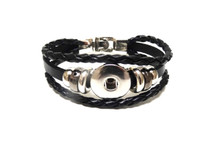 THREE STRAP LEATHER BRACELET BLACK