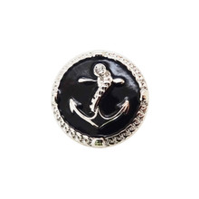 BLACK ENAMEL ANCHOR SNAP JEWEL