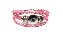 THREE STRAP LEATHER BRACELET PINK