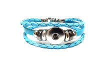 THREE STRAP LEATHER BRACELET TURQUOISE