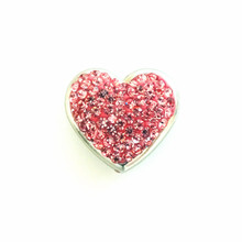 PINK CRYSTAL HEART SNAP JEWEL
