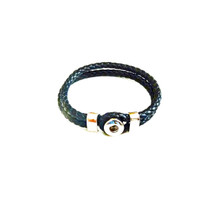 MINI SINGLE SNAP BRAIDED LEATHER BRACELET BLACK