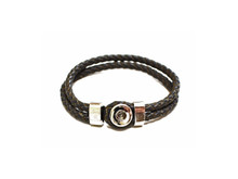 MINI SINGLE SNAP BRAIDED LEATHER BRACELET GREY