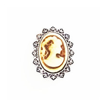 BROWN AND WHITE CAMEO SNAP JEWEL