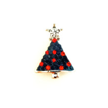 CHRISTMAS TREE RED & GREEN JEWELLED SNAP JEWEL