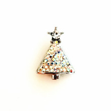 CHRISTMAS TREE AURORA BOREALIS JEWELLED SNAP JEWEL