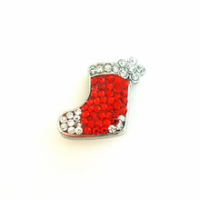 CHRISTMAS RED JEWELLED STOCKING SNAP JEWEL