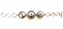 THREE SNAP LINK SILVER BRACELET