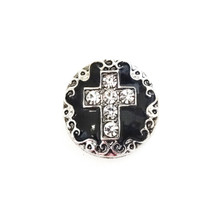 JEWELLED BLACK ENAMEL CROSS SNAP JEWEL