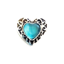 BLUE CATSEYE SILVER HEART SNAP JEWEL