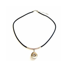 BRAIDED BLACK LEATHERETTE NECKLACE