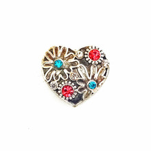 CRYSTAL FLOWERED HEART SNAP JEWEL