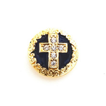 JEWELLED GOLD & BLACK ENAMEL CROSS SNAP JEWEL