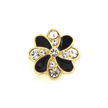 BLACK AND GOLD CRYSTAL PINWHEEL SNAP JEWEL