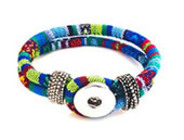 WOVEN BLUE AND GREEN SNAP JEWEL BRACELET