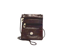 BROWN LEATHER CROSSBODY SNAP JEWEL PURSE