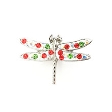 RED AND GREEN CRYSTAL DRAGONFLY SNAP JEWEL
