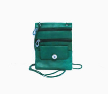 TEAL LEATHER CROSSBODY SNAP JEWEL PURSE