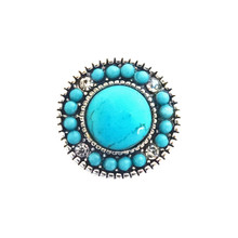 TURQUOISE AND CRYSTAL BEADED SNAP JEWEL