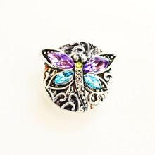 CRYSTAL BLUE AND PURPLE BUTTERFLY SNAP JEWEL