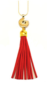 SNAP JEWEL TASSEL NECKLACE - RED