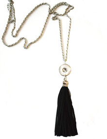 SNAP JEWEL TASSEL NECKLACE - BLACK