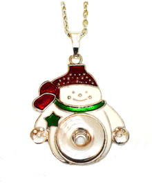 CHRISTMAS SNOWMAN SNAP JEWEL NECKLACE