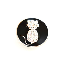 BLACK JEWELLED ENAMEL CAT SNAP JEWEL