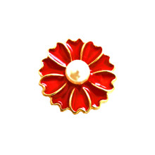 PEARL ON RED HEART PETALS SNAP JEWEL