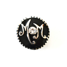 BLACK ENAMEL MOM SNAP JEWEL