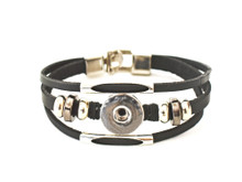 BLACK BURMA THREE STRAP LEATHER BRACELET