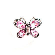 LARGE PINK CRYSTAL BUTTERFLY SNAP JEWEL