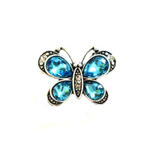 LARGE BLUE CRYSTAL BUTTERFLY SNAP JEWEL