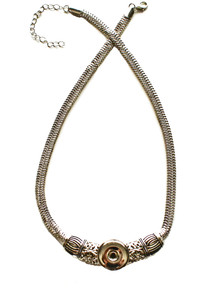 SILVER CLEOPATRA SNAP JEWEL NECKLACE
