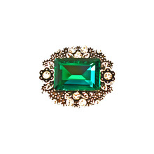 ANTIQUE EMERALD REPOUSSE SNAP JEWEL