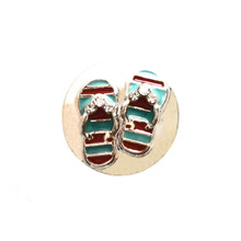 AQUA AND RED FLIP FLOPS SNAP JEWEL