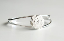 STERLING SILVER WHITE ROSE CUFF BRACELET