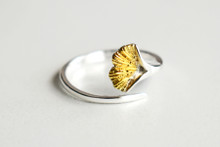 STERLING SINGLE GINKGO LEAF RING