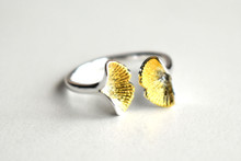 STERLING DOUBLE GINKGO LEAF RING