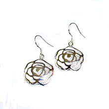 SILVER GRANDE ROSE FISHHOOK EARRINGS