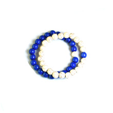CRACKLE STONE BRACELETS - ROYAL AND WHITE